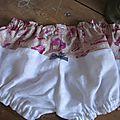 Culotte BIANCA en coton imprimé accessoires fille rose sur fond beige - coton imprimé et lin blanc dans le dos - noeud vichy marine devant et sur les fesses (5)