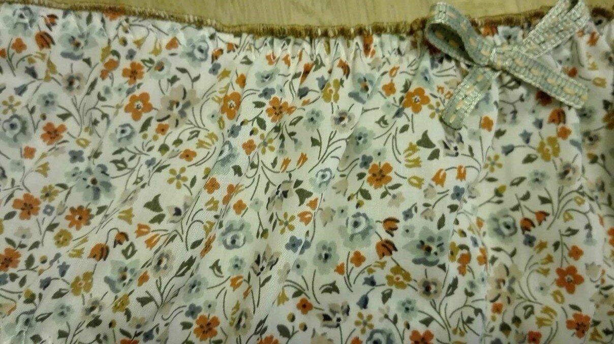Culotte CHARLOTTE en Liberty Kimberley orange et vert - taille L (2)