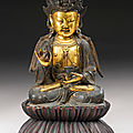 A gilt-bronze figure of guanyin, ming dynasty (1368-1644)