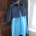 Robe BRUNE en lin turquoise - Veste BLANCHE en lin marine - Chapeau AGATHE en lin marine et turquoise (2)