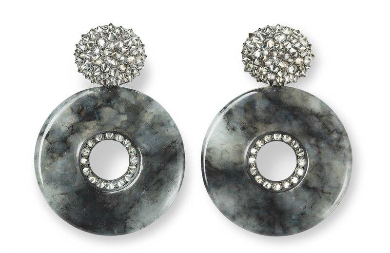 Hemmerle earrings, jade, diamonds, silver