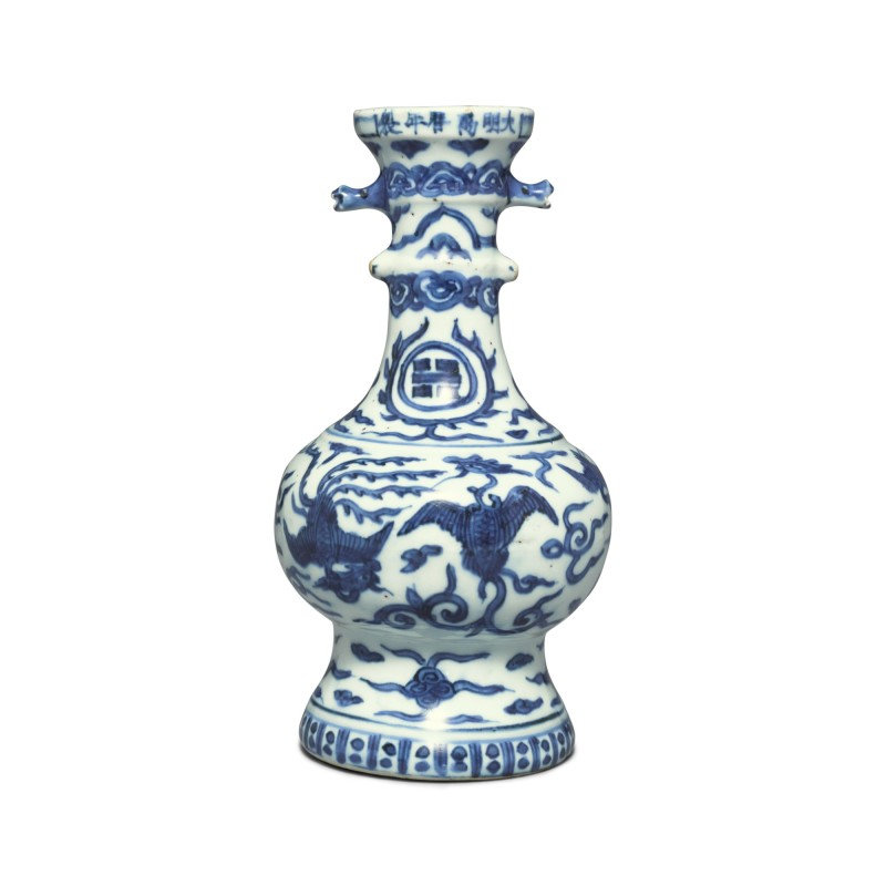 A rare blue and white 'phoenix and crane' vase, Mark and period of Wanli (1573-1620)