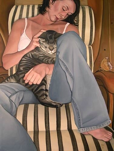 Suzanne Clements with her cat Lindsey - Better Days - self portrait