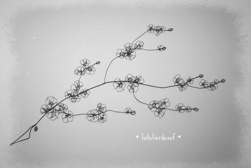 branche cerisier en fleurs fil de fer