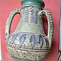 nabeul, adjeddou à trois anses, faïence polychrome 1850