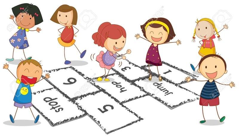 31216570-Illustration-de-nombreux-enfants-qui-jouent-la-marelle-Banque-d'images