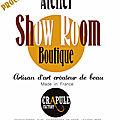 Prochainement crapule factory ouvrira son show room à belley dans son atelier. artisan d'art créateur de beau
