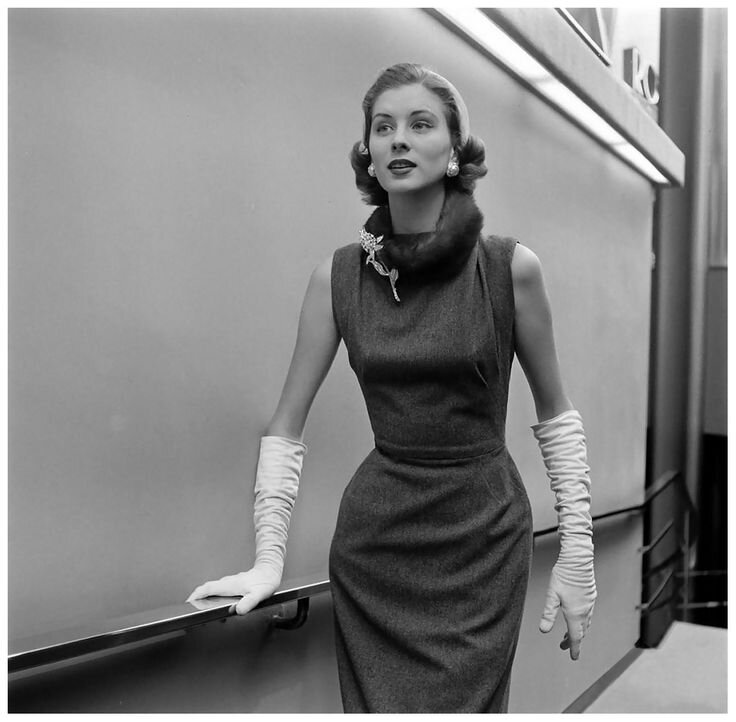The lovely Suzy Parker wearing Balenciaga dress, Life – 1956