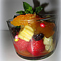 Verrines de fruits au sirop et à la confiture/tartinade au gingembre