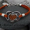Love, love, love ! petit bracelet orange, coeur martelé orange mais... grands sentiments !