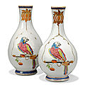 A large pair of chinese famille rose 'parrot on a perch' pear-shaped vases, yongzheng period (1723-1735)