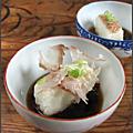 agedashi tofu : tofu frit sauce dashi