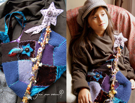Sac patchwork tricot velours