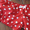 Culotte rouge à pois blancs