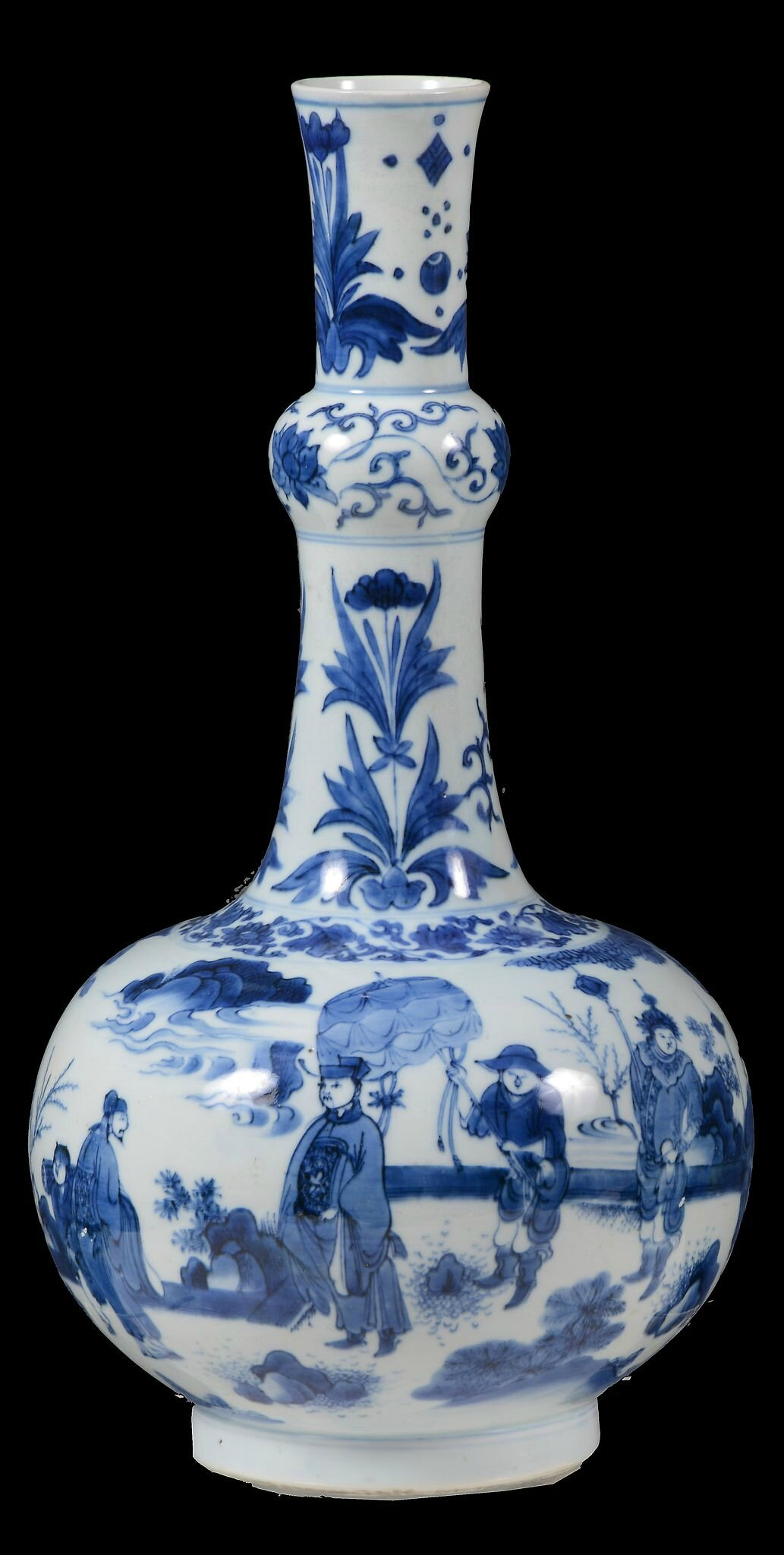 A good Chinese blue and white Transitional bottle vase, Chongzhen (1628-43)