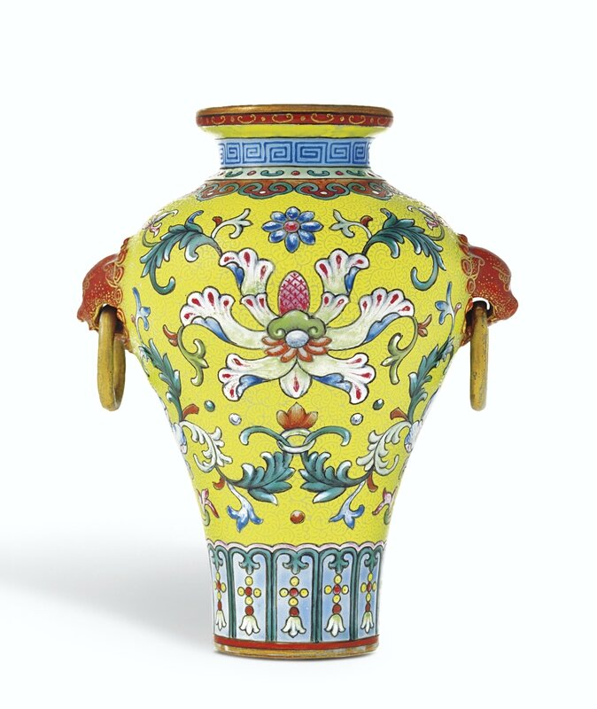 Yellow-ground famille-rose sgraffiato miniature vase, mark and period of Qianlong, from the Meiyintang Collection