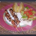Brochette de viande - feta et son accompagnement