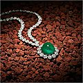 Emerald and diamond pendent necklace