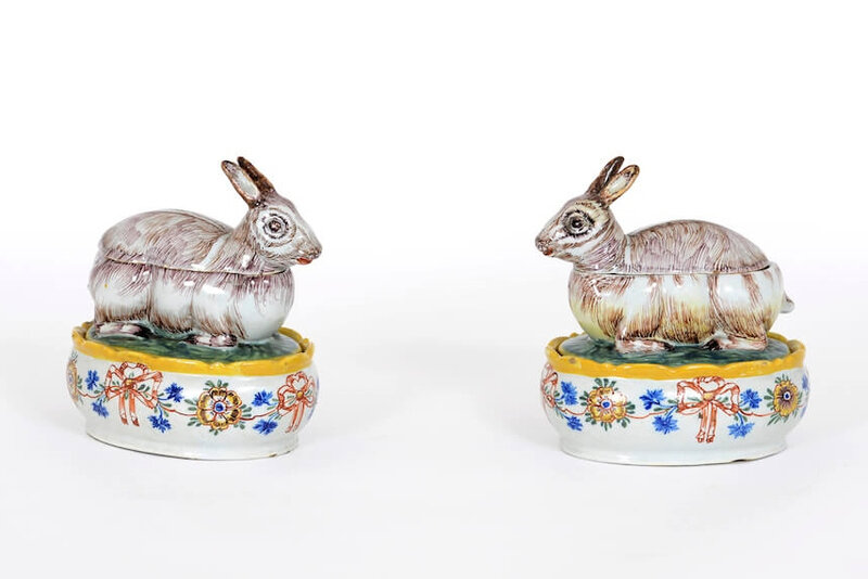 Pair of Polychrome Crouching Hare Tureens and Covers, Delft, circa 1765