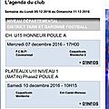 Les matchs du week-end : samedi 10 & dimanche 11 décembre 2016