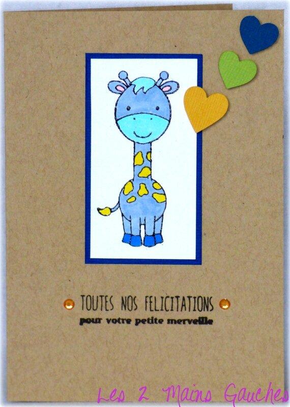 carte de naissance en kraft avec girafe bleue