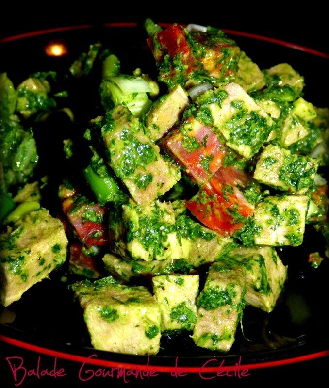 Salade de langue de boeuf au chorizo et aux herbes