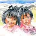 carte n° 4 - 2 fillettes en rose