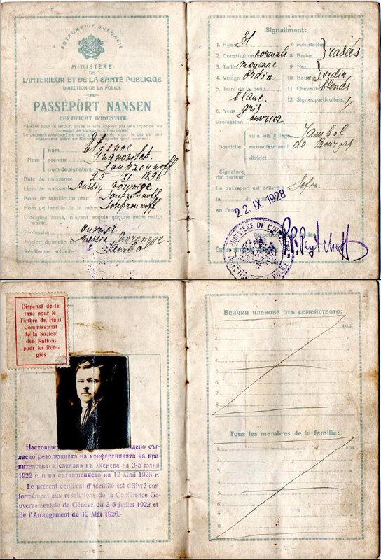 Passeport dispense Nansen 1928
