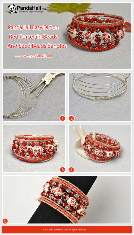 6-Red Porcelain Beads and Seed Beads Bangles