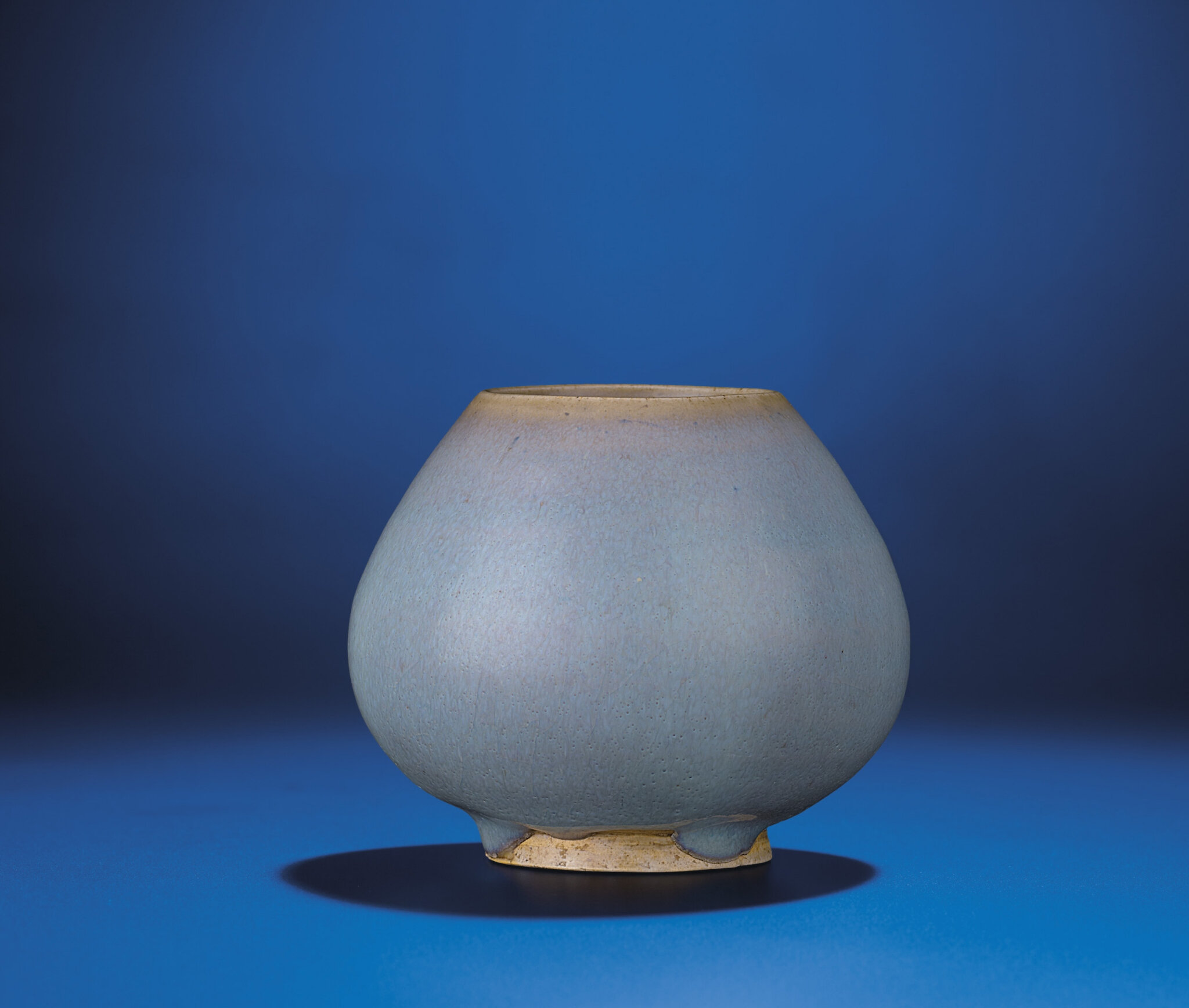 A fine Jun-glazed lotus-bud shaped water pot, Yuan-early Ming dynasty, 14th century