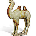 An amber and straw-glazed pottery figure of a camel, Tang dynasty (618-907)