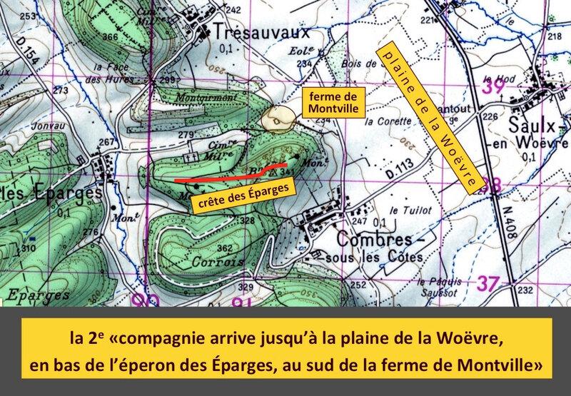 crête des Éparges, ferme Montville, carte IGN 1950, légendé