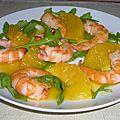 Salade de crevettes et d'oranges et sa sauce à l'orange