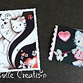 ATC personnages imaginaires Hello Kitty et carte