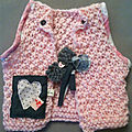 top tricot rose coeur