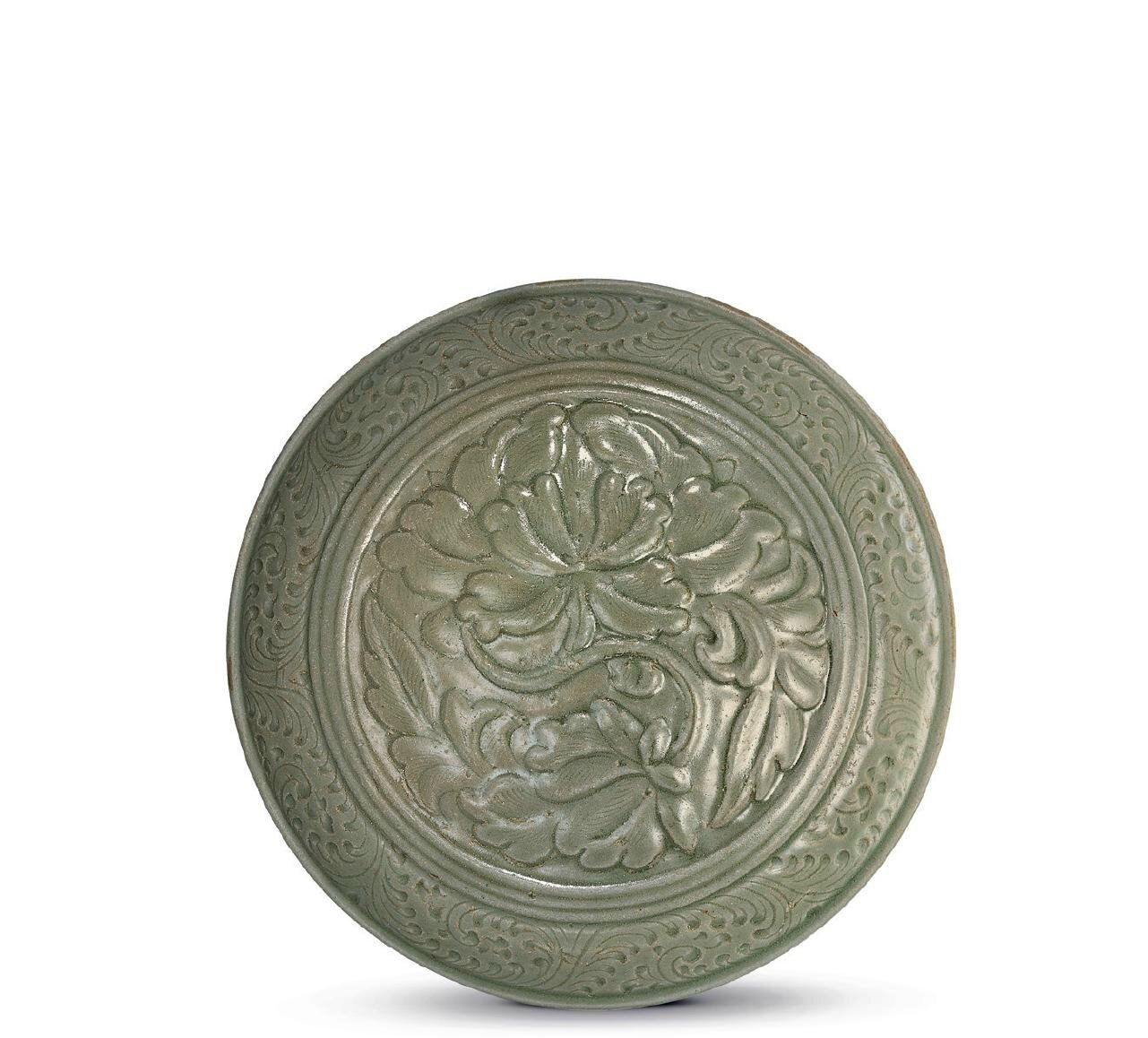 A rare carved and incised Yue 'peony' box and cover, Northern Song dynasty, 10th-11th century