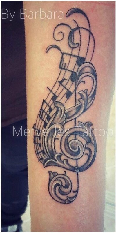 tattoo, note musique, ornements, partition