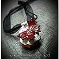 Collier cupcake papillon rouge passion