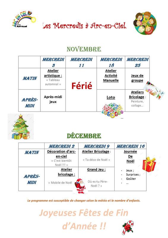 Programme Arc-en-Ciel : mercredis de Novembre et Décembre 2020
