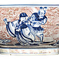 A copper-red and underglaze-blue 'immortals' bowl, qianlong seal mark and period (1736-1795)