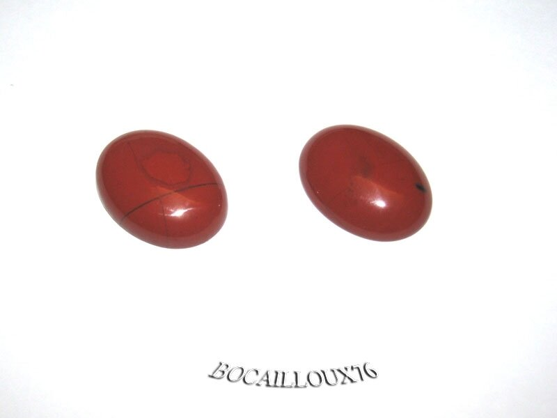 CABOCHON 15x20 JASPE ROUGE 6 - LOT DE 2 - POUR CREATION