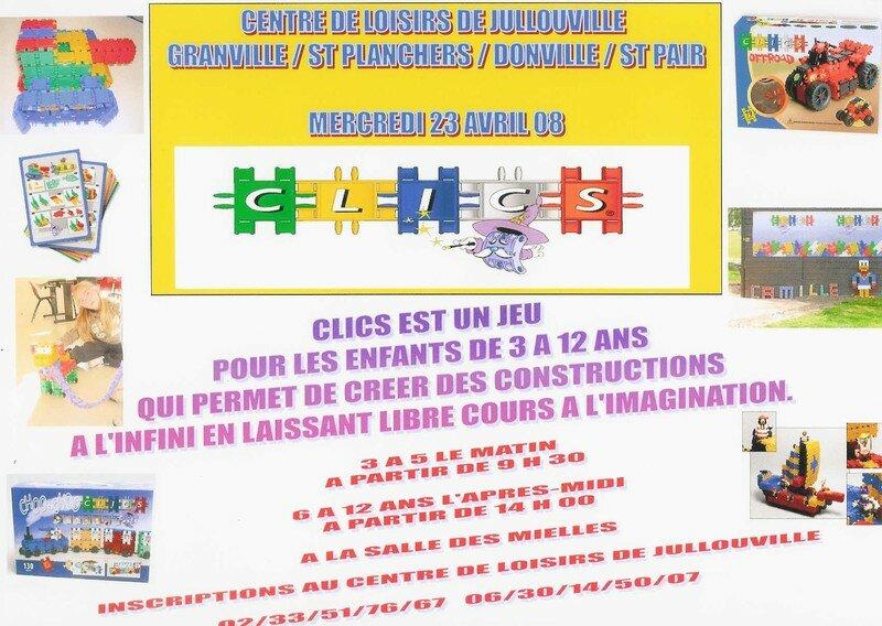 Affiche pour l'animation clics du mercredi 23 avril 2008