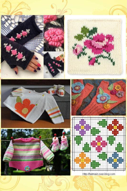 collage tricots fleuris