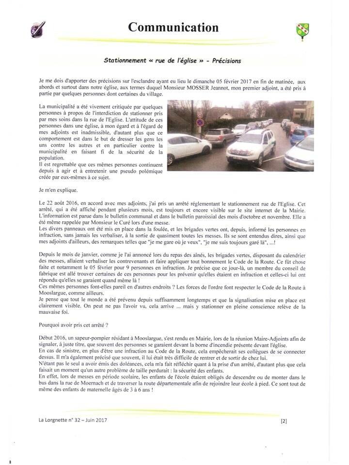 """Précisions de notre Maire, M. Sommerhalter Pascal, dans la """"Lorgnette"""" - blog Mooslargue 2016 -"""