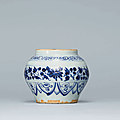 A small blue and white jar, Yuan dynasty (1279-1368)