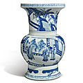 A fine blue and white 'figural' vase, kangxi period (1662-1722)