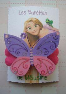 barette papillon 8 rose mauve 8cm