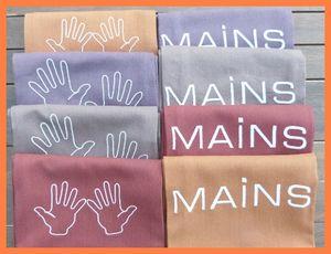 6 essuie mains brodés couleurs vives et mains