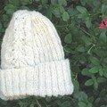 bonnet dentelle laine filée main