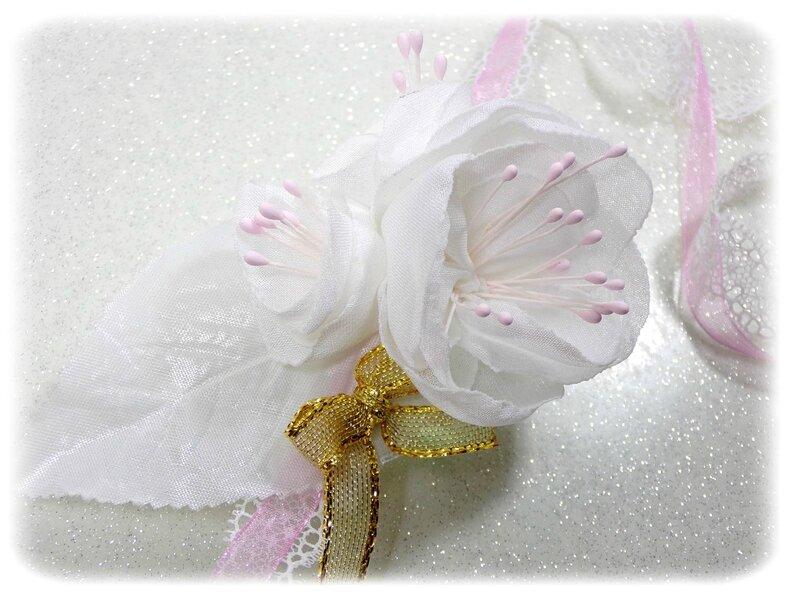 Bracelet de mariée fleurs rose quartz or blanc fait main mariage